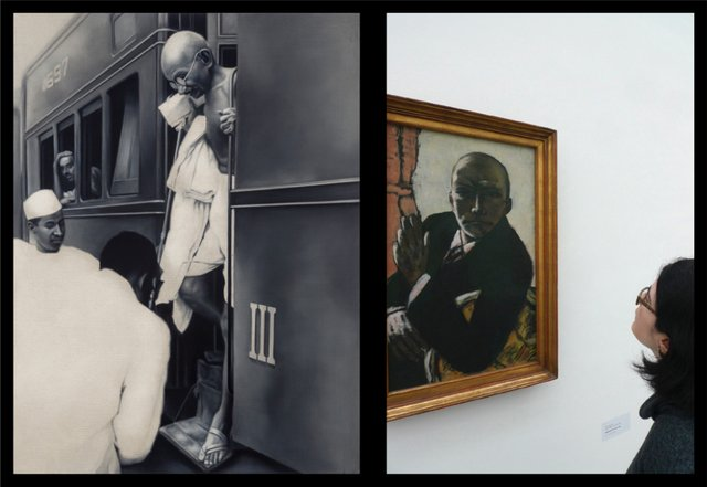 "Atul Dodiya, ""Alighting from the Train, New Delhi,"" 1940's"