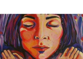 "Detail of Lana Whiskeyjack's acrylic painting, ""I Love You,"" 2014"