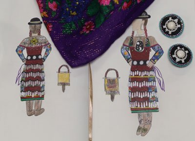 "Tamara Lee Anne Cardinal, ""Jingle Dress Regalia and Sketch (detail),"" 2018"