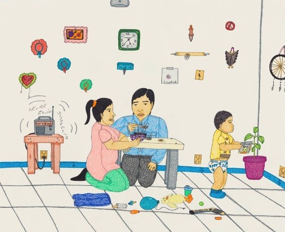 "Annie Pootoogook, ""Listening to the Radio,"" 2005–06"