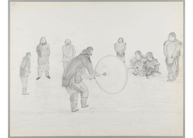 "Cornelius (Kooneeloosee) Nutarak, ""Celebration and Drum Dancing,"" 1964"