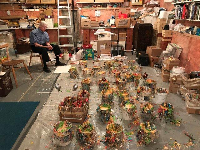 Eric Cameron in his Calgary studio in 2018. (photo courtesy of TrépanierBaer Gallery, Calgary)