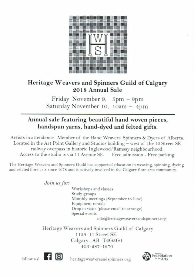 Heritage Weavers and Spinners Guild of Calgary 2018 Annual Sale