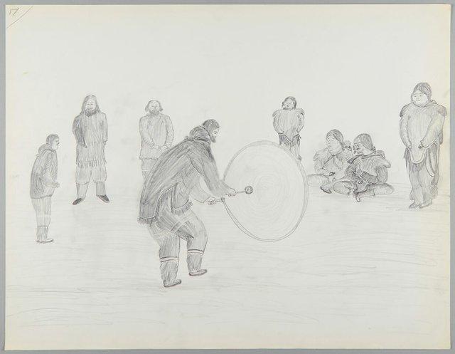 Cornelius (Kooneeloosee) Nutarak, 1924, Clyde River, Nunavut – 2007, Pond Inlet, Nunavut Celebration and Drum Dancing (detail), 1964