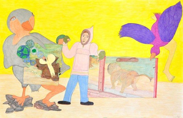 "Shuvinai Ashoona, ""Untitled,"" (Bird /Man holding Drawings), no date"