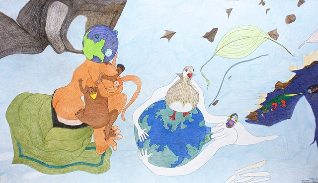 "Shuvinai Ashoona, ""Untitled,"" (Breast Feeding, Planets, Alligator, Duck), no date"