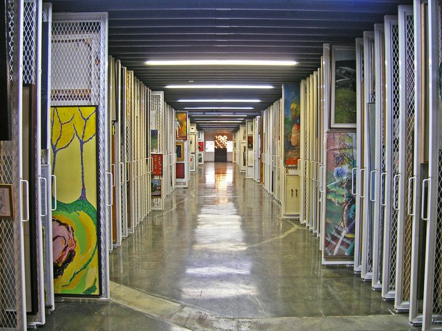 Art stored on racks at the Canada Council Art Bank.