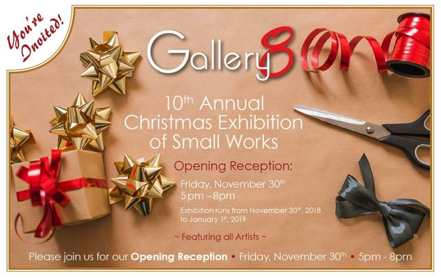 """Gallery 8, """"10th Annual Christmas Exhibition of Small Works,"""" 2018"""