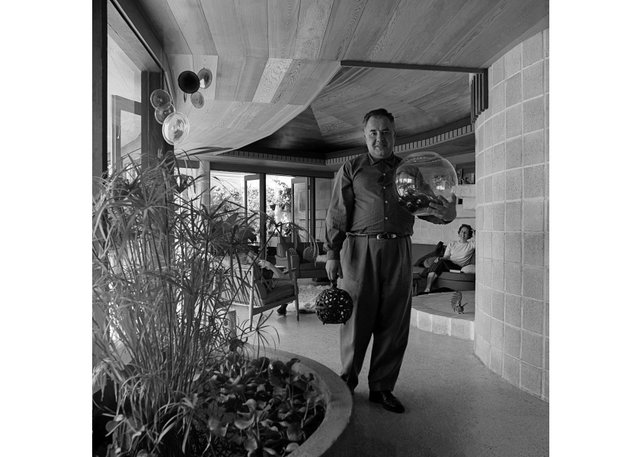 Fred Hollingsworth in 1961 inside the Trethewey residence he designed (photo by Selwyn Pullan, courtesy of the West Vancouver Art Museum)