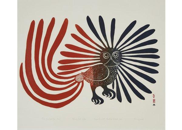 """Kenojuak Ashevak, """"The Enchanted Owl,"""" (red tail) 23/50, 1960"""