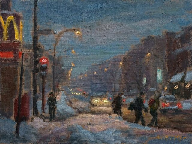 "Antoine Bittar, ""Evening on Queen Mary Road, Montreal,"" 2017"