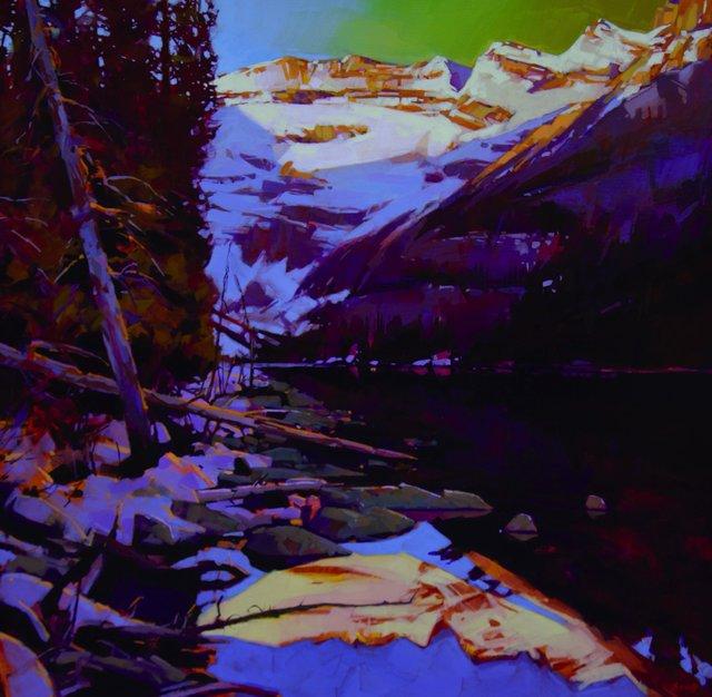"Mike Svob, ""Sunrise on the South Shore, Lake Louise,"" 2018"