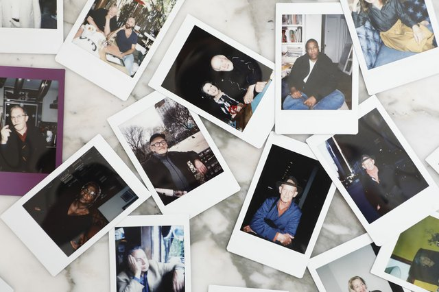 Jarrett Earnest, assorted portraits of art critics, 2015-2017, Fuji Instax photographs (courtesy Jarrett Earnest and David Zwirner)