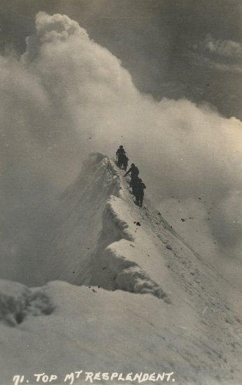 "Byron Harmon, ""Mountaineers descend from the summit of Mt. Resplendent,"" 1913"
