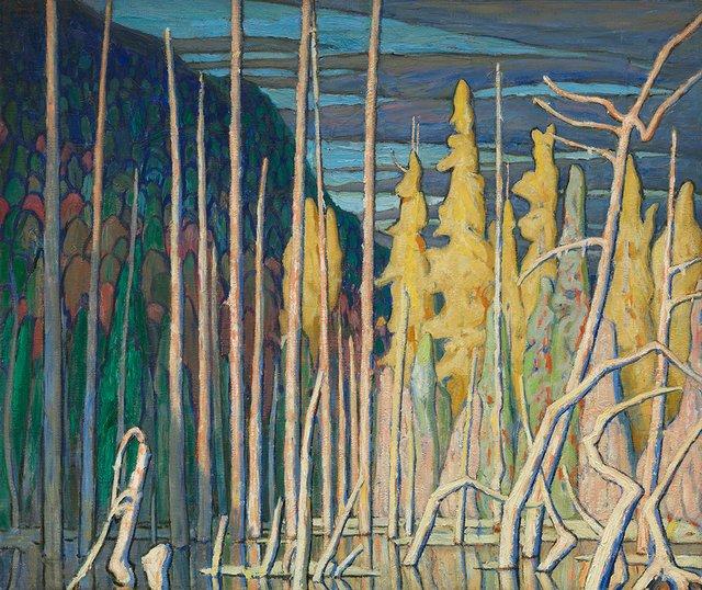 """Lawren Harris, """"Tamarack Swamp, Algoma,"""" 1920"""