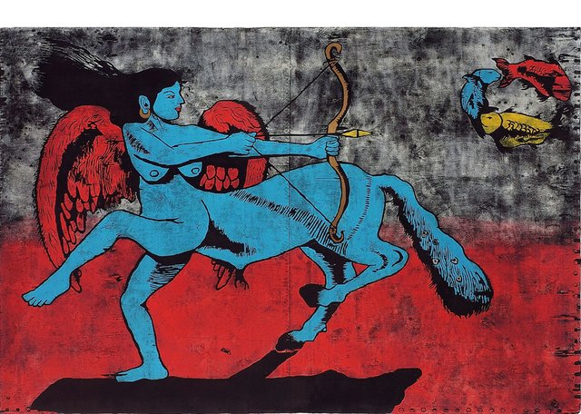 """Kurma Nadham's untitled 2013 woodcutwas part of """"India Inked"""" at the SNAP gallery in Edmonton in 2018."""