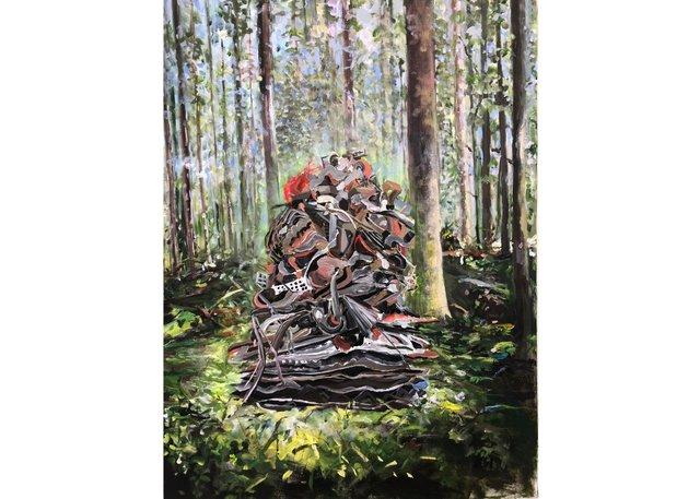 "Lori Goldberg, ""Visitation,"" 2018,acrylic on canvas, 40"" x 30"""