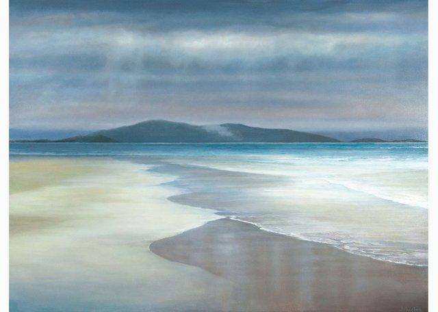 "Patricia Johnston, ""Western Isle Beach,"" 2018,oil on canvas, 36"" x 48"""
