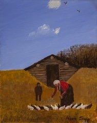 """Allen Sapp, """"Nookum - Feeding Chickens,"""" Circa late 2000's"""
