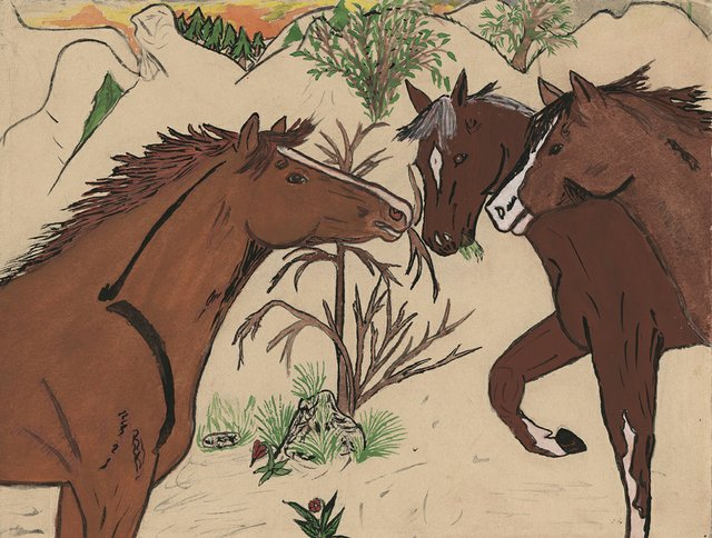 "Jane Stelkia, ""Three Horses,"" date unknown"