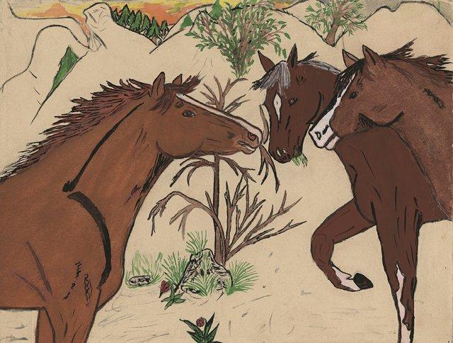 "Jane Stelkia, ""Three Horses,"" date unknown"