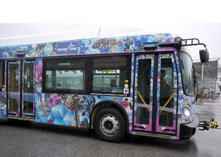 """How far do you travel?"" bus displaying Diyan Achjadi, ""NonSerie (In Commute),"" 2017/2018"