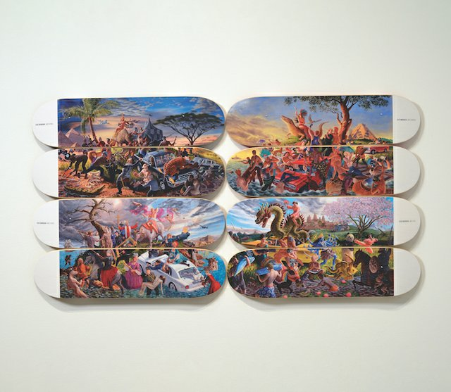 """Micheal Langan / Colonialism Skateboards Collaboration with Kent Monkman, """"The Four Continents,"""" 2018"""