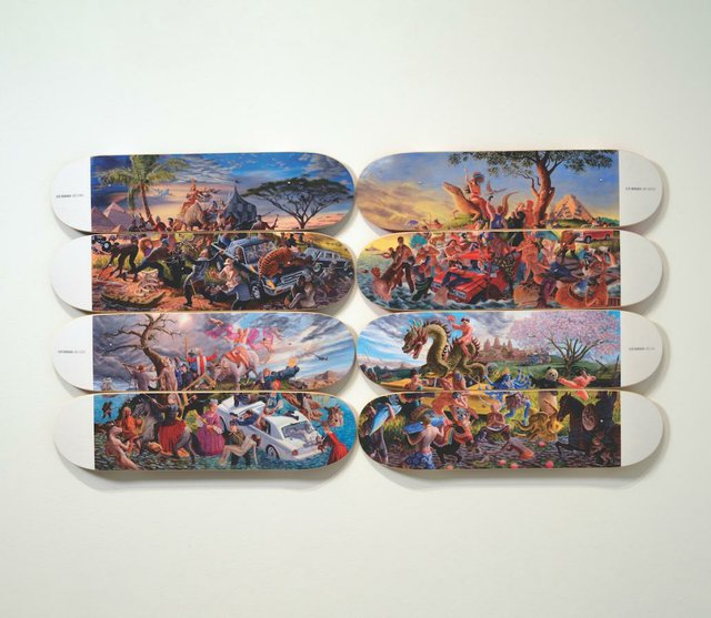 "Micheal Langan / Colonialism Skateboards Collaboration with Kent Monkman, :The Four Continents,"" 2018"