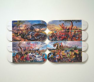 """Micheal Langan / Colonialism Skateboards Collaboration with Kent Monkman, :The Four Continents,"""" 2018"""