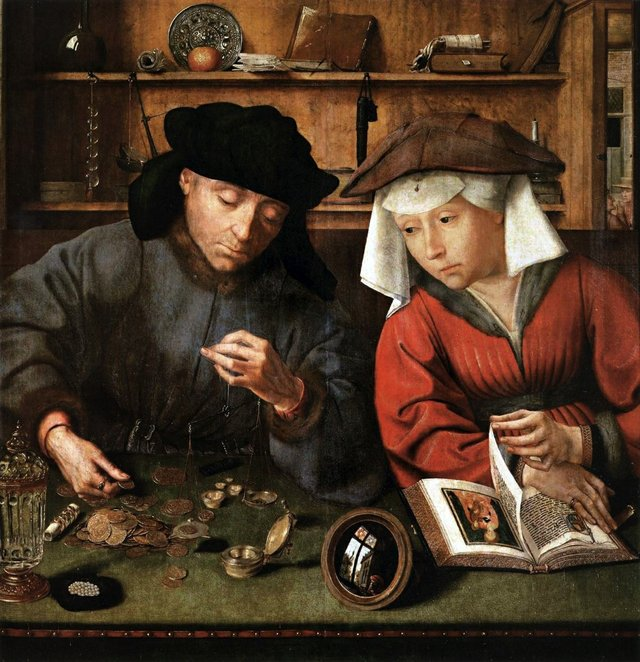 """Quentin Massys,""""The Money Lender and His Wife,"""" 1514"""