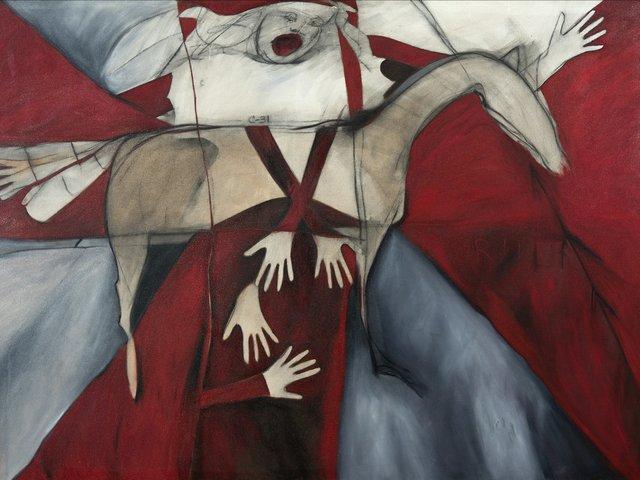"""Joane Cardinal-Schubert, """"Rider"""" (detail), 1986"""