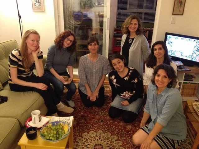 Members of the Art Mamas, a Vancouver artists' collective, pose at their first meeting in 2016. From the left: Heather Passmore, Matilda Aslizadeh, Sarah Shamash, Gabriela Aceves, Maria Anna Parolin, Damla Tamer and Natasha McHardy.
