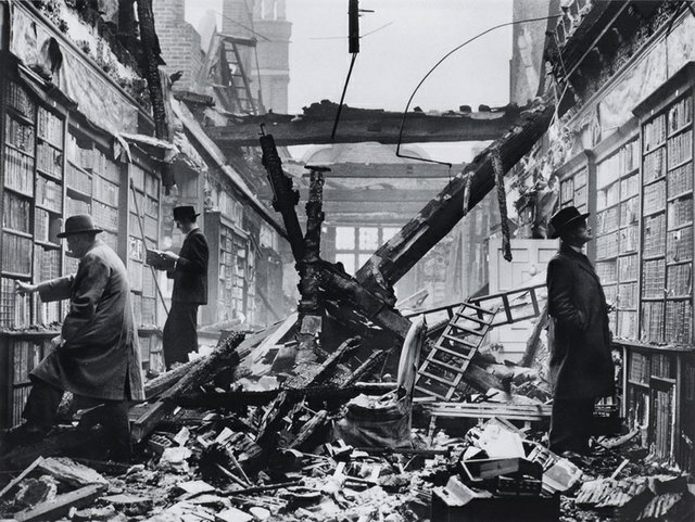 "Photographer unknown, ""The Library of Holland House Library, Kensington, London, after air raid,"" 1940"