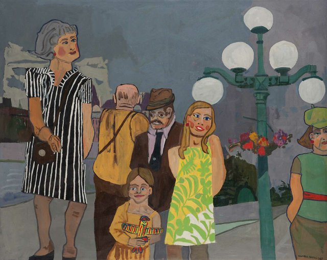 """Maxwell Bates, """"Tourists in Victoria,"""" 1967"""