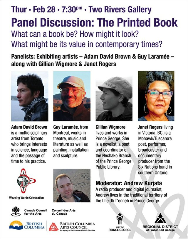 """Two rivers Gallery, """"Panel Discussion: The Printed Book,"""" 2019"""