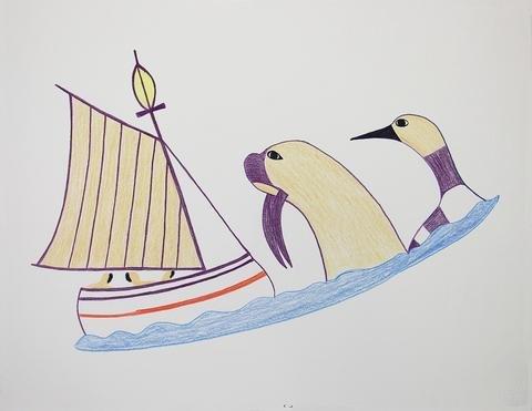 "Pudlo Pudlat, ""Untitled (Walrus & Loon Watching Boat),"" Cape Dorset, 1990/1991"