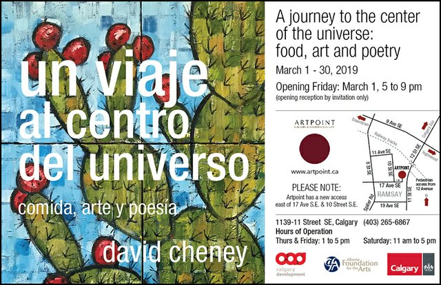 """David Cheney, """"un viaje al centro del universo: comida, arte y poesia,"""" 2019"""
