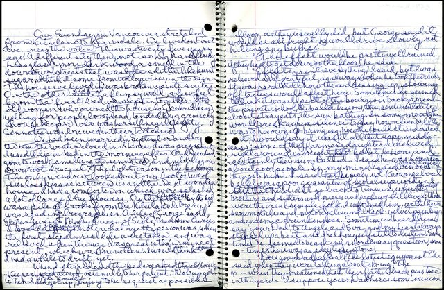 """Alice Munro, """"Notebook draft of Labour Day Dinner, pages 2-3,"""" nd"""