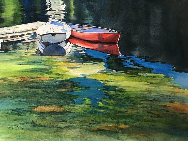 """Donna Jo Massie, """"CANOES AT LAKE O'HARA,"""" nd"""