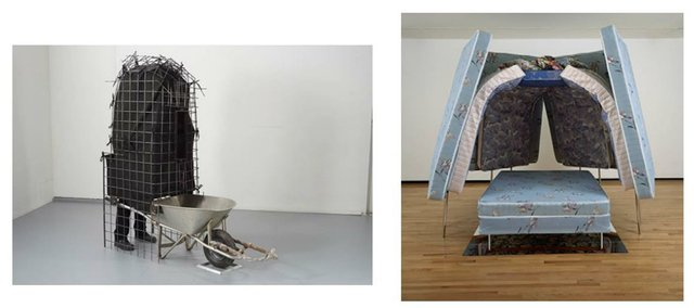 "Left - [Mowry Baden, ""Marsupial,"" 2013, steel, aluminum, fabric, rubber, Collection of the artist]"