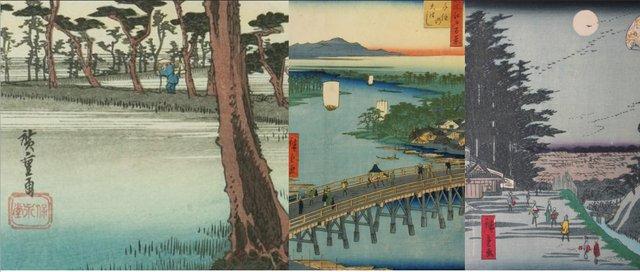 "Ando Hiroshige, Yoshiwara, ""Fuji to Left,"" Japanese, 19th Century"