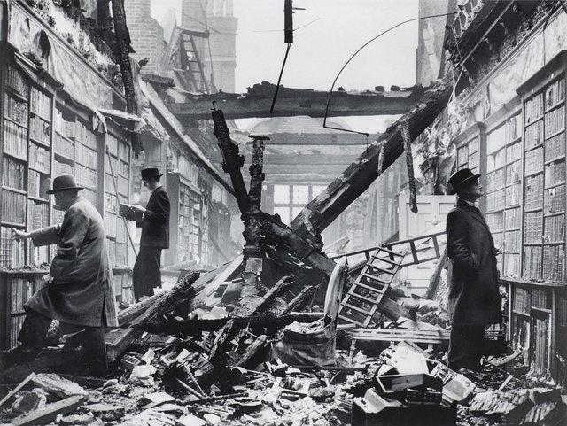 Photographer unknown, Holland House library, Kensington, London, after an air raid, 1940