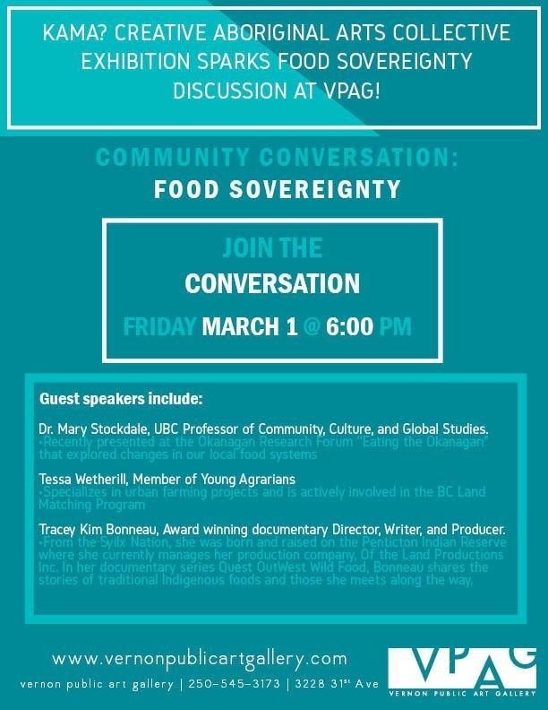 "Vernon Public Art Gallery, ""Community Conversation: Food Sovereignty,"" 2019"