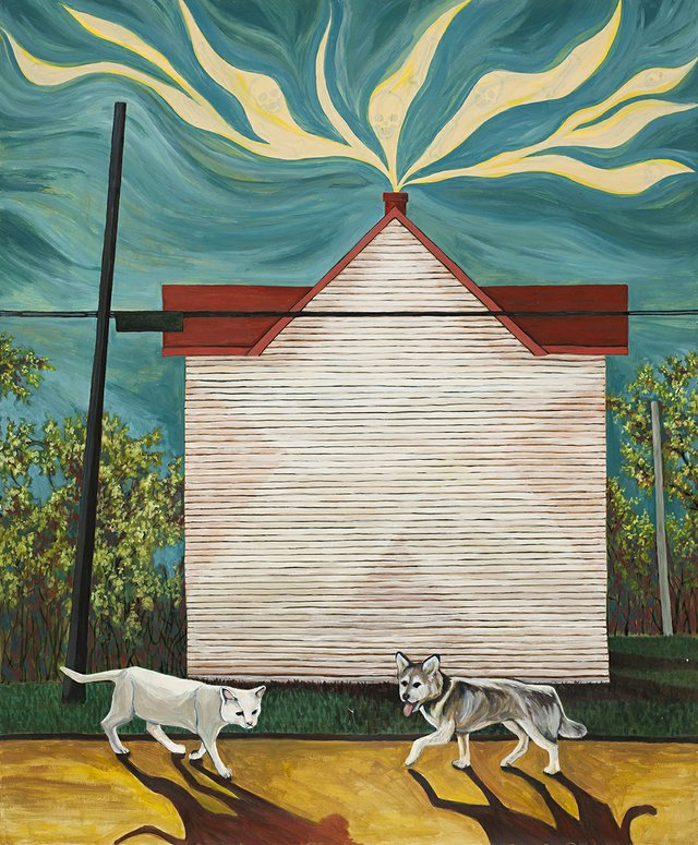 """Chis Saruk-Reid, """"Cat, Dog and Half a House,"""" 2018"""