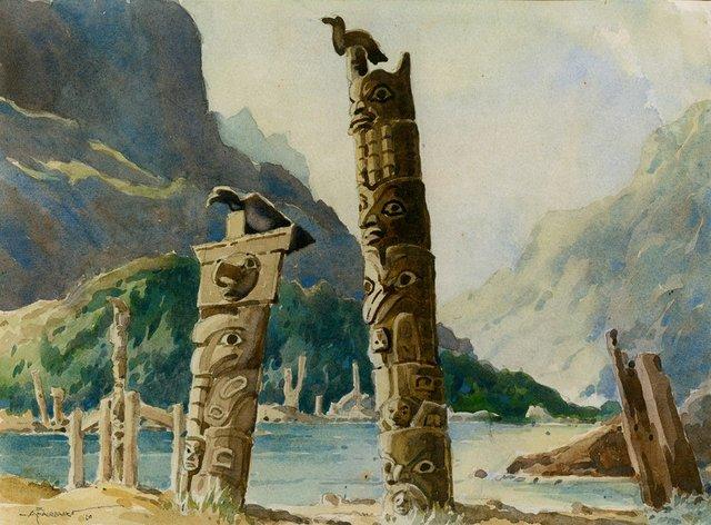 "Archibald Fairbairn, ""Poles in Landscape,"" 1960"