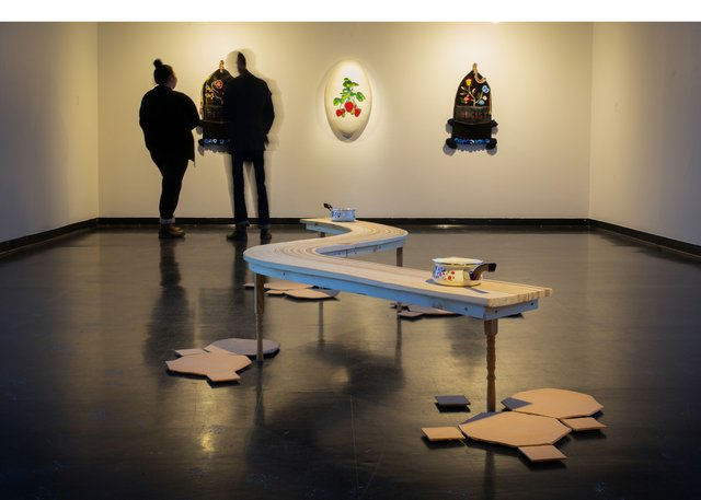 """Katherine Boyer, """"Water Meets Body,"""" 2019, installation view at Gallery 1C03, Winnipeg (photo by Lindsey Bond)"""