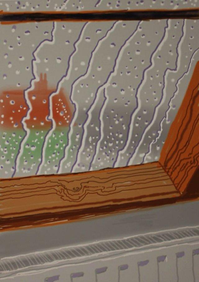 "David Hockney, OM CH RA British b. 1937 ""My Yorkshire – Rain on the Studio Window"""