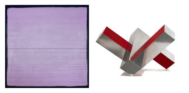 """Left Image: Alexander Jowett, """"Soleil a Minuit,"""" 2019, acrylic on canvas, 36"""" x 36"""""""