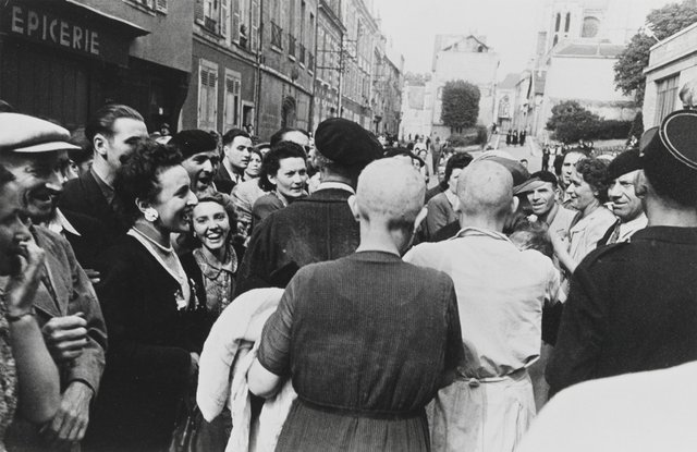 """Robert Capa, """"Chartres, France, 18 August, 1944 (female collaborators marched through town),"""" 1944"""