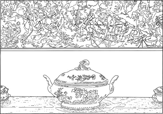 """Louise Lawler, """"Pollock and Tureen (traced),"""" 1984/2013"""